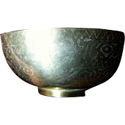 SALE Vintage Engraved Pakistani Brass Begging Bowl, Perfect for Potpourri or Catch All