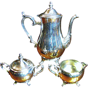 SALE International Silver Co. Silverplated Georgian Style Coffee Service Pattern # 800