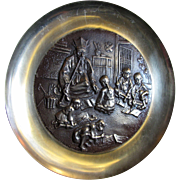SALE Chinese High Relief Solid Brass Wall Hanging Plate of Scholar with Students