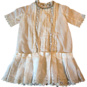 SALE Antique White Linen Lace Embroidered Dress for Medium Doll
