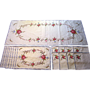 Beautiful 17 Piece Embroidered & Appliqued Linen Set circa 1960