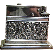 Vintage Mylflam 830 Silver Table Lighter with Embossed Relief of Tavern Scene with Musicians,