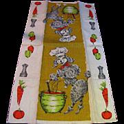 Poodle Chef 1960's Linen Tea Towel
