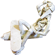 Vintage Dino Bencini Italian Art Pottery Whimsical Pilot with Plane Figurine