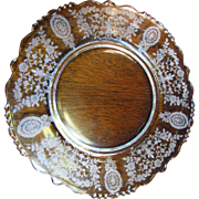 "Tiffin Crystal 8"" Lunch Plate in the June Night Etch Pattern on Beaded Blank #17392 ..."