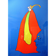 "RARE Peter Max Signed Artists Proof ""Prince of Blue"""