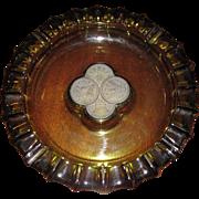 "Large Faustoria Patriotic Coins 1887 Green Glass Cigar/Cigarette Ashtray 10"""