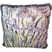SALE Lovely Iris Design Needlepoint Pillow with Fringed Trim