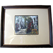 """Signed Wallace Nutting """"Silver Birches"""" Hand Colored Photographic Print"""