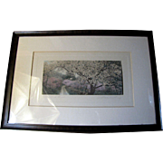 """Large Signed Wallace Nutting """"A Canopied Road"""" Hand Colored Photographic Print"""