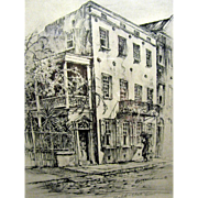 Elizabeth O'Neill Verner Charleston Residence Pencil Signed Lithographic Print, Framed