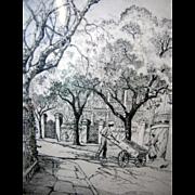 Elizabeth O'Neill Verner Charleston Street Scene Pencil Signed Lithographic Print, Framed