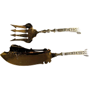 SALE 320 Gram Circa 1860 Sterling Silver Fish Serving Set, Ball Black & Co.