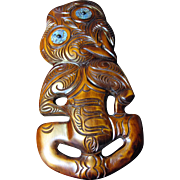 """Large 17"""" Hand Carved Traditional Maori Tiki Mask Wall Sculpture"""