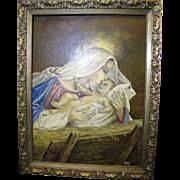 SALE Vintage Madonna & Child Oil Painting by Donna Smieja