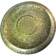 """Fine Ornate Antique Islamic Middle Eastern Ornate 14"""" Brass Tray or Plaque"""