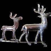 SALE 2 Vintage German Mercury Glass Christmas Reindeer Ornaments
