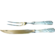 "SALE Westmorland ""Milburn Rose"" Sterling Silver Carving Fork and Knife Set in Origin"