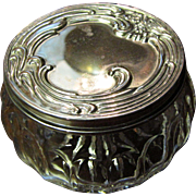 SALE Art Nouveau Style Crystal Dresser Jar with Silver Plated Lid