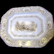 1842 English Ironstone Brown Transferware Platter, Rustic Scenery by J. Clementson, Staffordsh