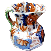 """Mid 19th Century Antique Gaudy """"Bethesda"""" Dragon Handle Welsh Ironstone Pitcher"""