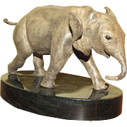 """""""His First Charge"""" Bronze Elephant by Robert Heath Rohrbacker (one of only four prod"""