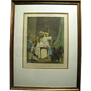 Beautifully Framed Erotic French Lithograph, La Comparison
