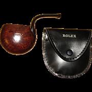 Rare, Vintage Brebbia Rolex Italy Briar Round Vest Pocket Smoking Pipe w/ Adjustable Stem, & O