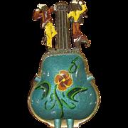 Vintage Enameled Brass Guitar & Dancers Ashtray, Made in Israel