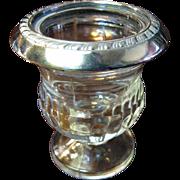 Sterling Silver Rimmed Glass Cigarette, Trinket or Toothpick Holder, Urn Form