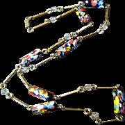 """SALE Pretty Vintage 30"""" Art Glass Gilt Chain Necklace"""