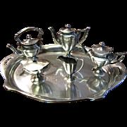 SALE Miniature HEAVY Sterling Silver Coffee Tea Set with Kettle & Tray by Bela