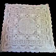 Fine Hand Embroidered Drawn Work Linen Batiste Wedding Hankie