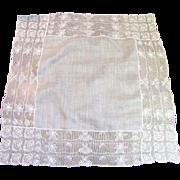 """Exquisite Linen Batiste Wedding Hankie with 3"""" Deep Lace Borders"""
