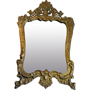 Victorian Gilt Ornate French Rococco Style Cast Metal Wall Mirror or Picture Frame