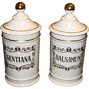 "Stylish Pair of Vintage Spanish 9 1/2"" Hand Painted Apothecary Jars  ""Balsamum & Gen"