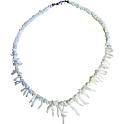 "SALE Pretty 16"" White Branch Coral Necklace"