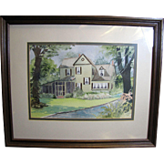Charming Vintage Framed Watercolor of Country House by SC Artist Betty Lane Kornegay