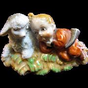 Sweetest Vintage Japanese Figurine of Little Shepherd Boy with Lamb