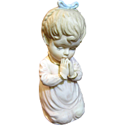 SALE PENDING Cute Vintage Japanese Bisque Porcelain Figurine of a Praying Girl