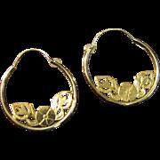 SALE Delicate Pair of 14k Gold Filigree Hoop Earrings by JCM