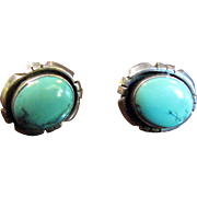 SALE Finest American Indian Turquoise Sterling Silver Earrings, Signed for Navajo Silversmith