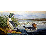 SALE Stunning Contemporary Acrylic on Canvas Painting of Wild Ducks on a River by Helen ...