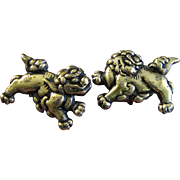 SALE Gilt Sterling Japanese Foo Dog Cufflinks from Menuki Sword Fittings