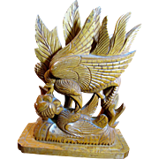 Exceptionally Fine Asian Hardwood Sculpture, Bird Feeding Chick