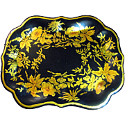 "Hand Painted 12"" Gilt Tole Tray After an Early American Design by Gladys Ganzenmueller"