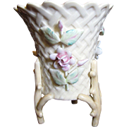 SALE Beautiful Porcelain Basket Weave Vase with Applied Floral Decoration and Twig Feet