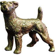Antique Gilt Bronze Dog, Sweet Face, Great Stance