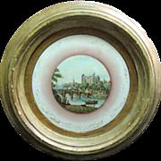 "Large Georgian Reverse ""Treacle"" Print on Glass, European Castle Scene"