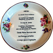 "Vintage CH Field Haviland Limoges Hotel Menu 5"" Dish"